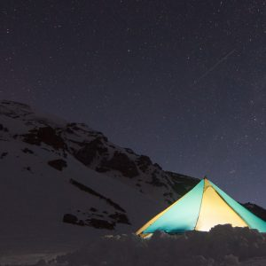 Camp on Mount Rainier before a ski descent of the Fuhrer Finger