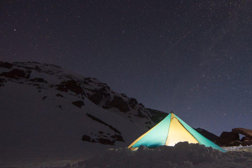 Camp on Mount Rainier before a ski descent of the Fuhrer Finger