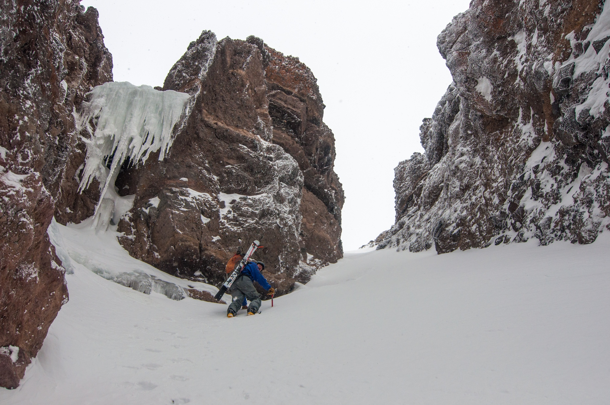 Climbing past the icefall below the crux choke