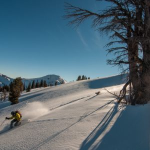Skiing near Goodwin Lake ski cabin below Jackson Peak in Wyoming's Gros Ventre Range