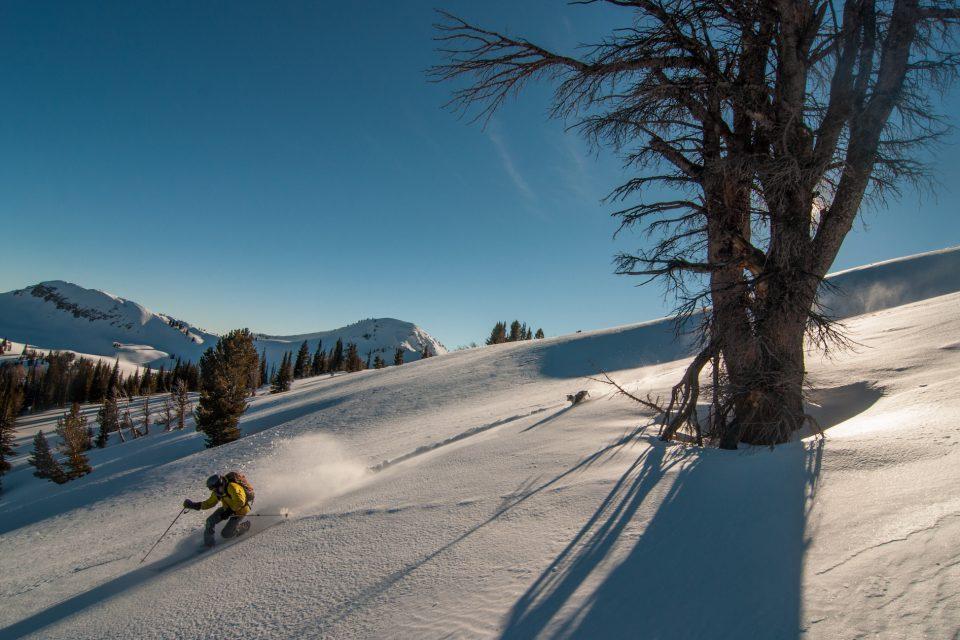 Skiing near Goodwin Lake ski cabin below Jackson Peak in Wyoming's Gros Ventre Range