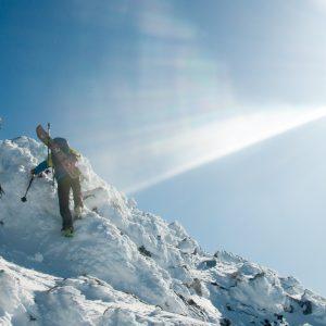 Ben Glatz and Derrik Sulzer nearing the summit of the South Teton