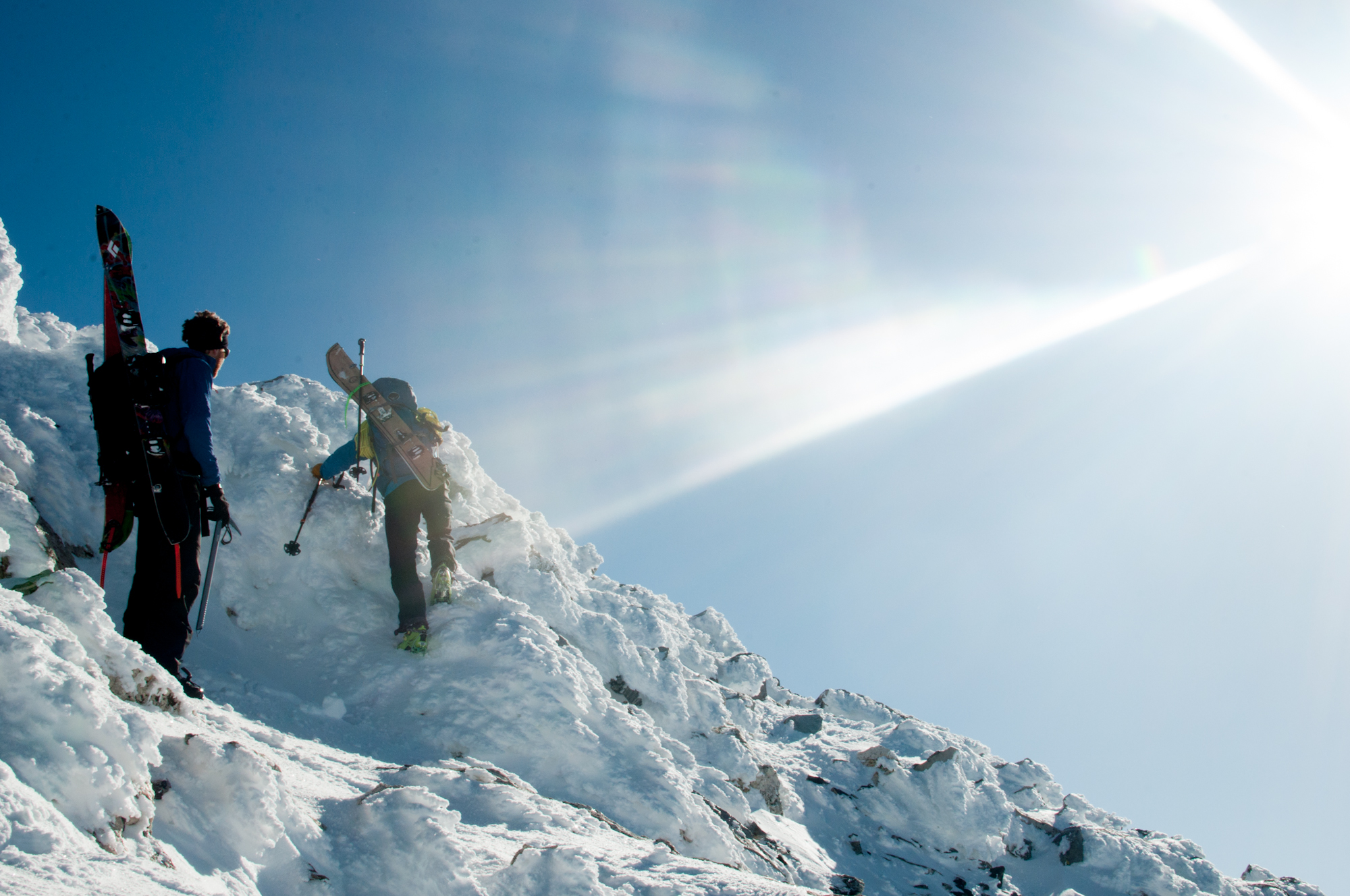 Ben Glatz and Derrik Sulzer nearing the summit of the South Teton