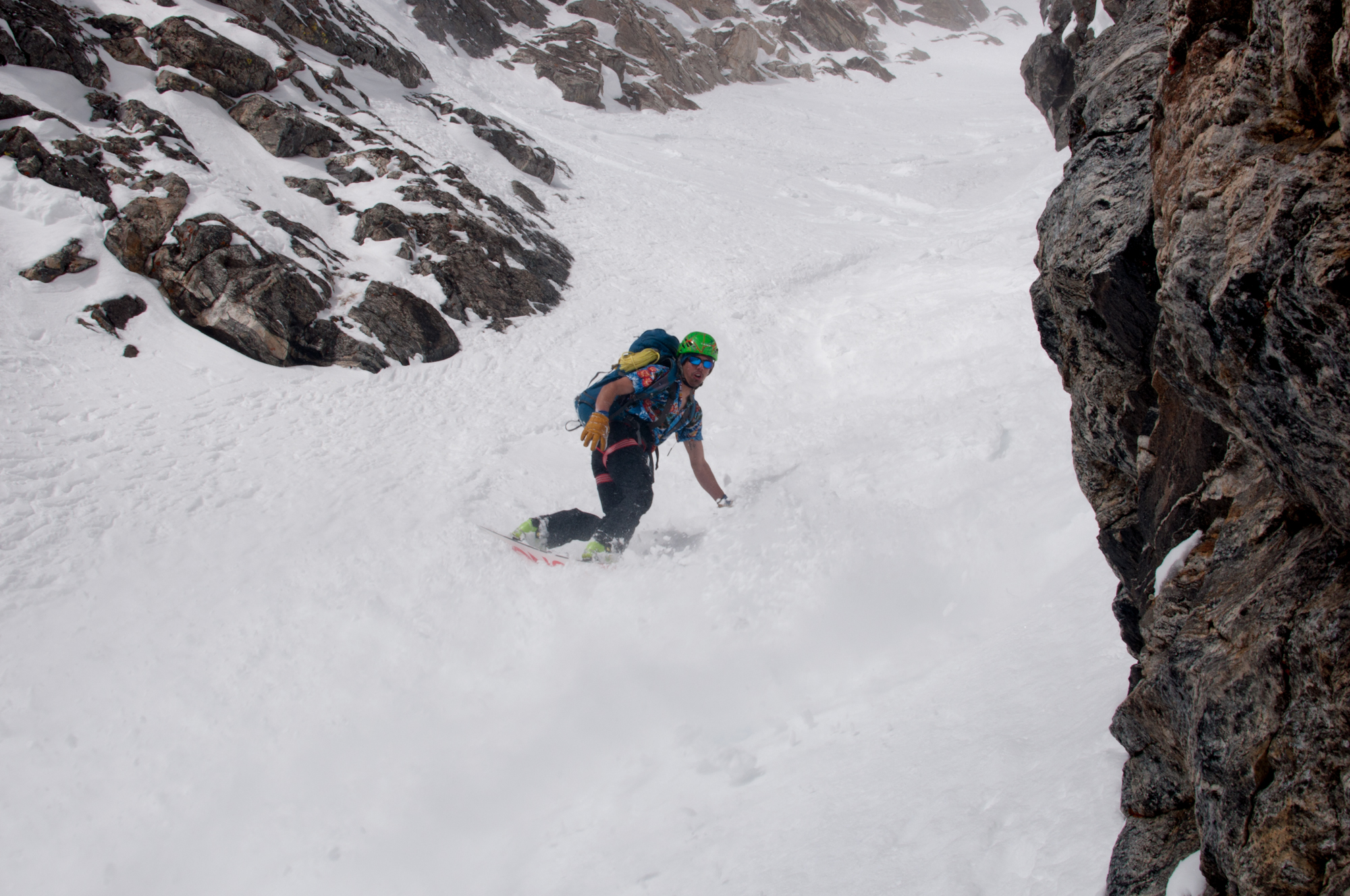 Ben Glatz in the middle of the SouthEast Couloir of the South Teton