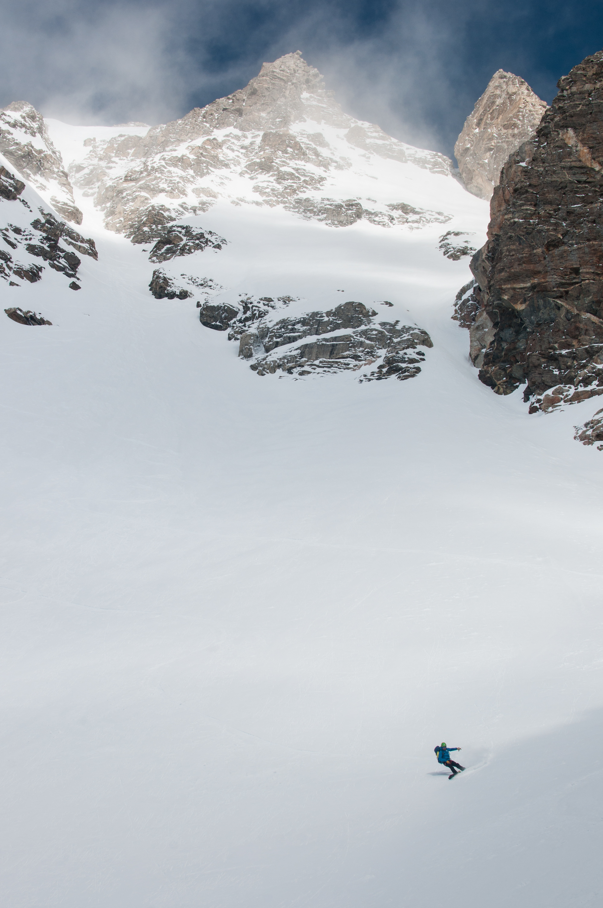 Ben Glatz near the bottom of the SouthEast Couloir on the South Teton