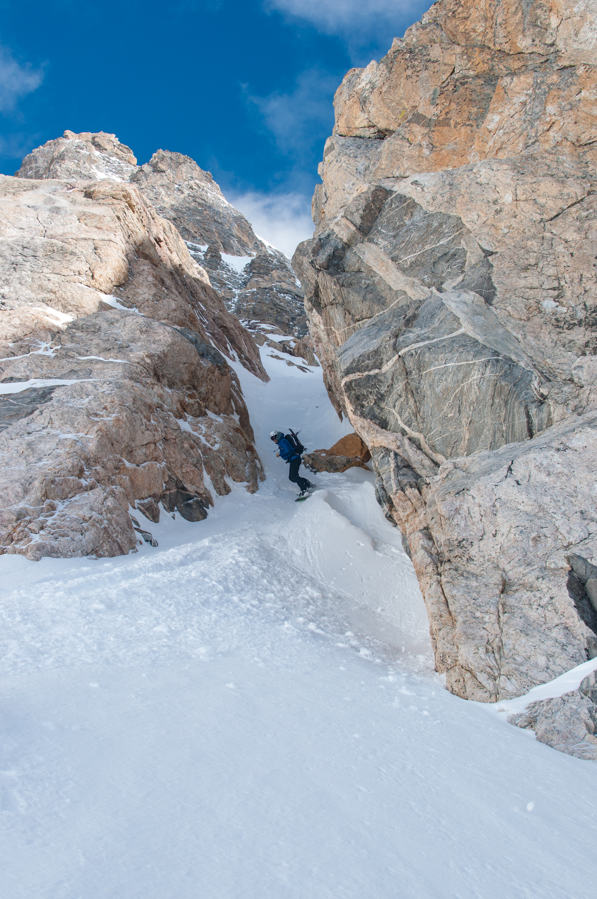 Derrik Selzer at the bottom of the SouthEast Couloir on the South Teton
